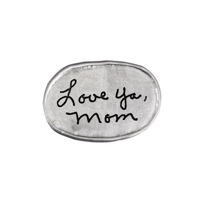 Handwritten note on personalized fine pewter oval pocket charm