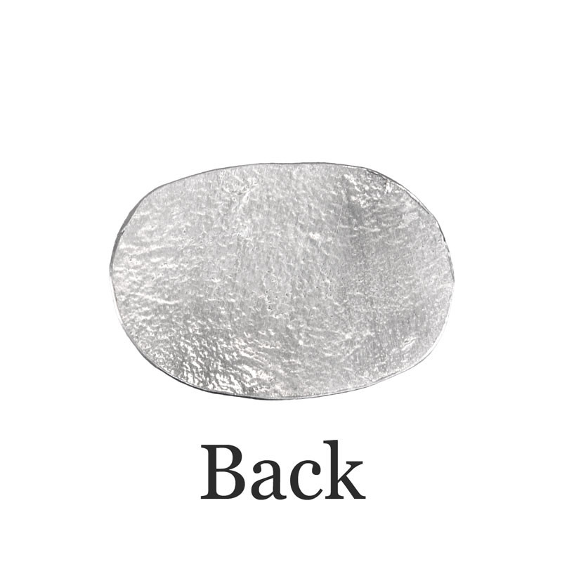 Back of personalized fine pewter oval pocket charm