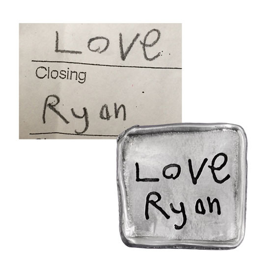 Handwriting on pewter pocket charm showing original handwriting sample and charm created from it