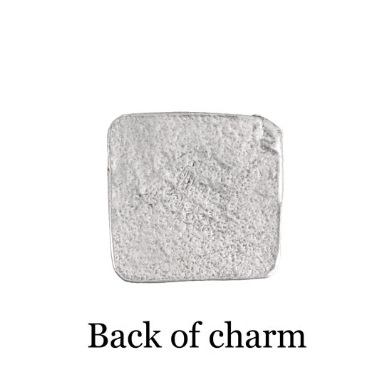 back of the square handwriting pocket charm
