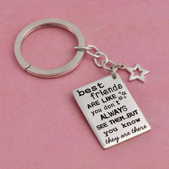 Hand stamped Friends are like stars key ring