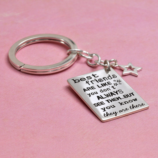 Friends are like stars sterling silver stamped custom key ring, shown from side