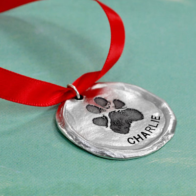 Custom paw print on an ornament