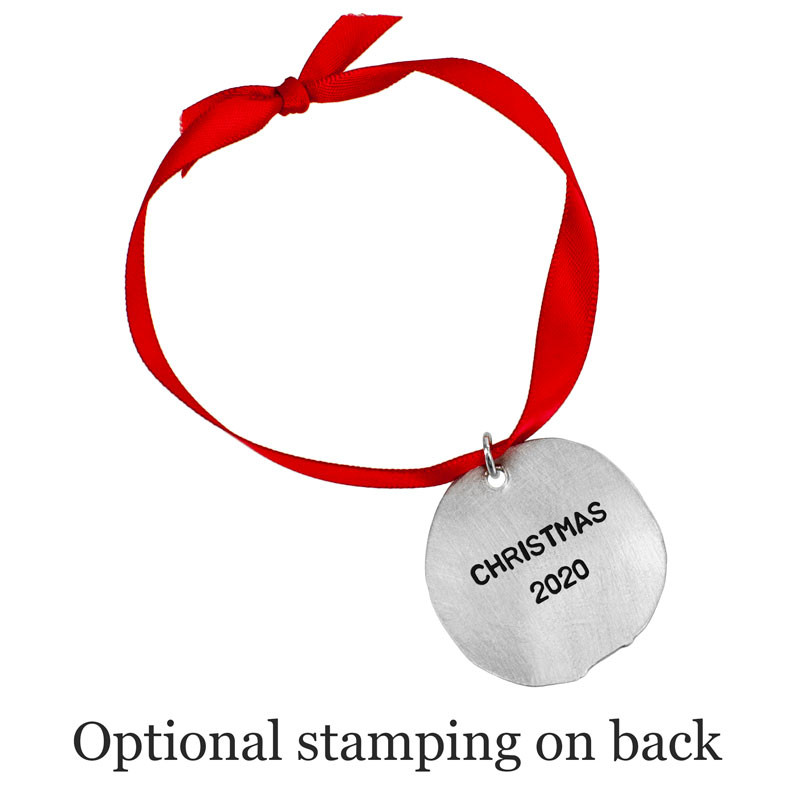 Optional stamping shown on back of custom fine pewter Christmas ornament