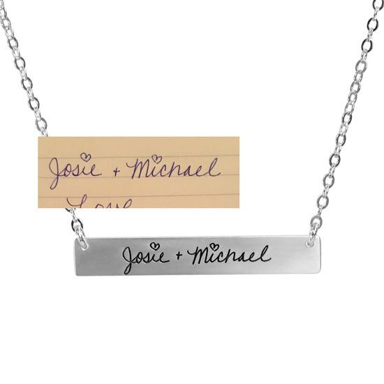 Wedding gift handwriting necklace