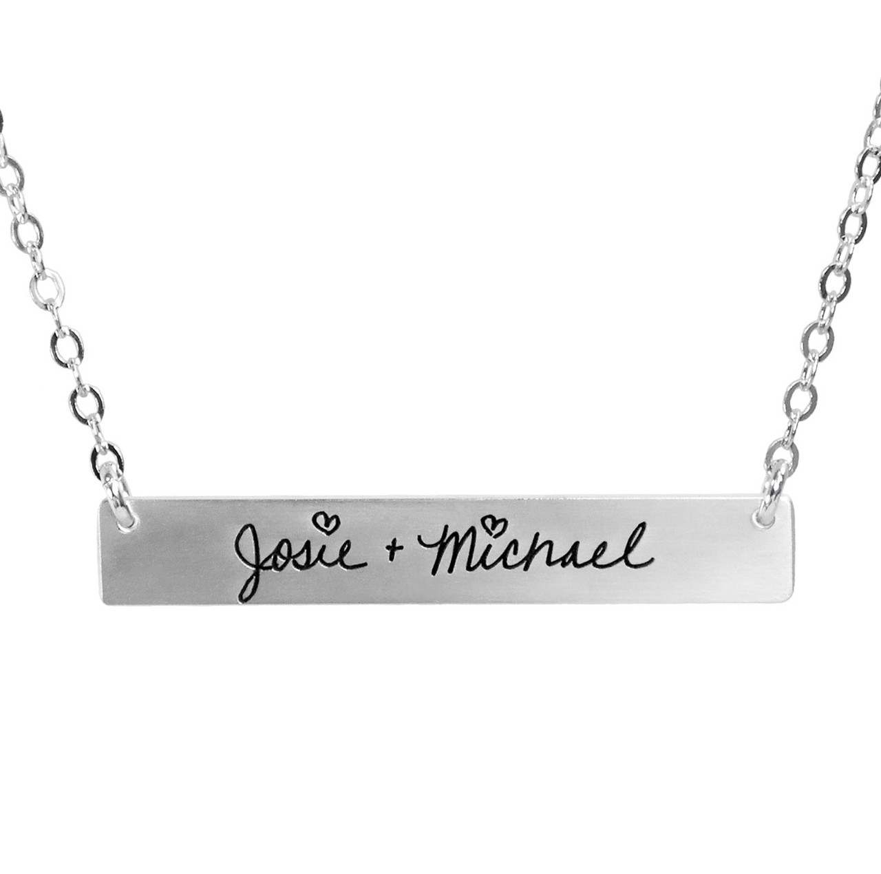 Silver Handwriting bar necklace with your actual handwriting, shown close up on white