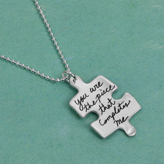 Custom handwriting puzzle charm