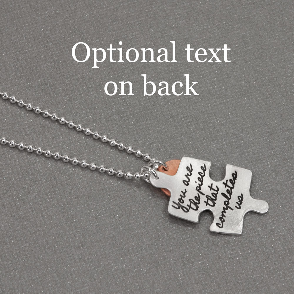 Custom handwriting puzzle charm in silver, shown from side