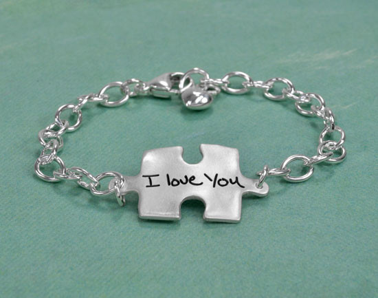 Puzzle charm child's handwriting autism bracelet