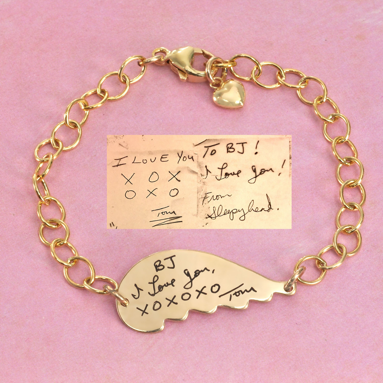 Gold memorial handwriting angel wing bracelet with your loved ones actual handwriting
