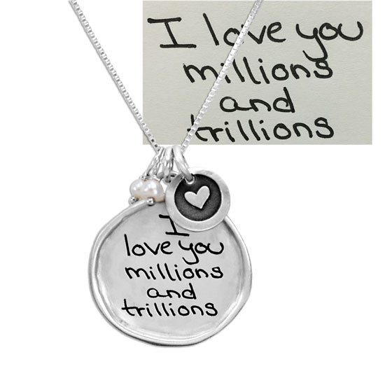 Handwriting Jewelry with the original actual handwritten message
