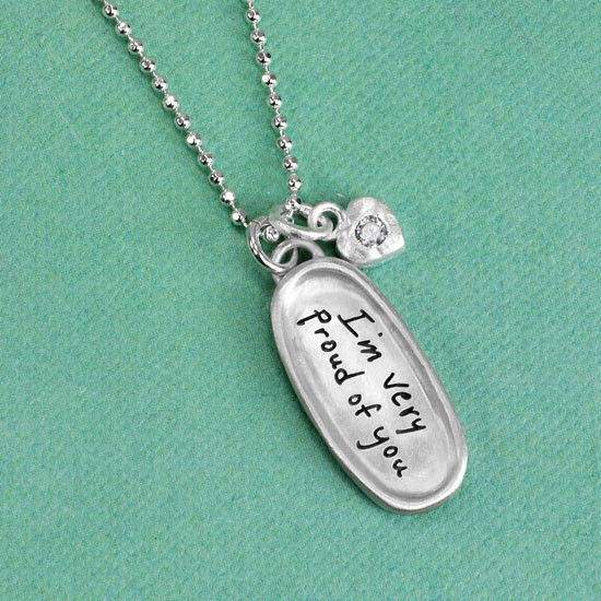 Handwriting graduation necklace