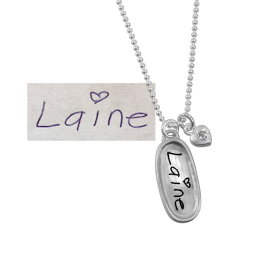 Handwritten name on sterling necklace