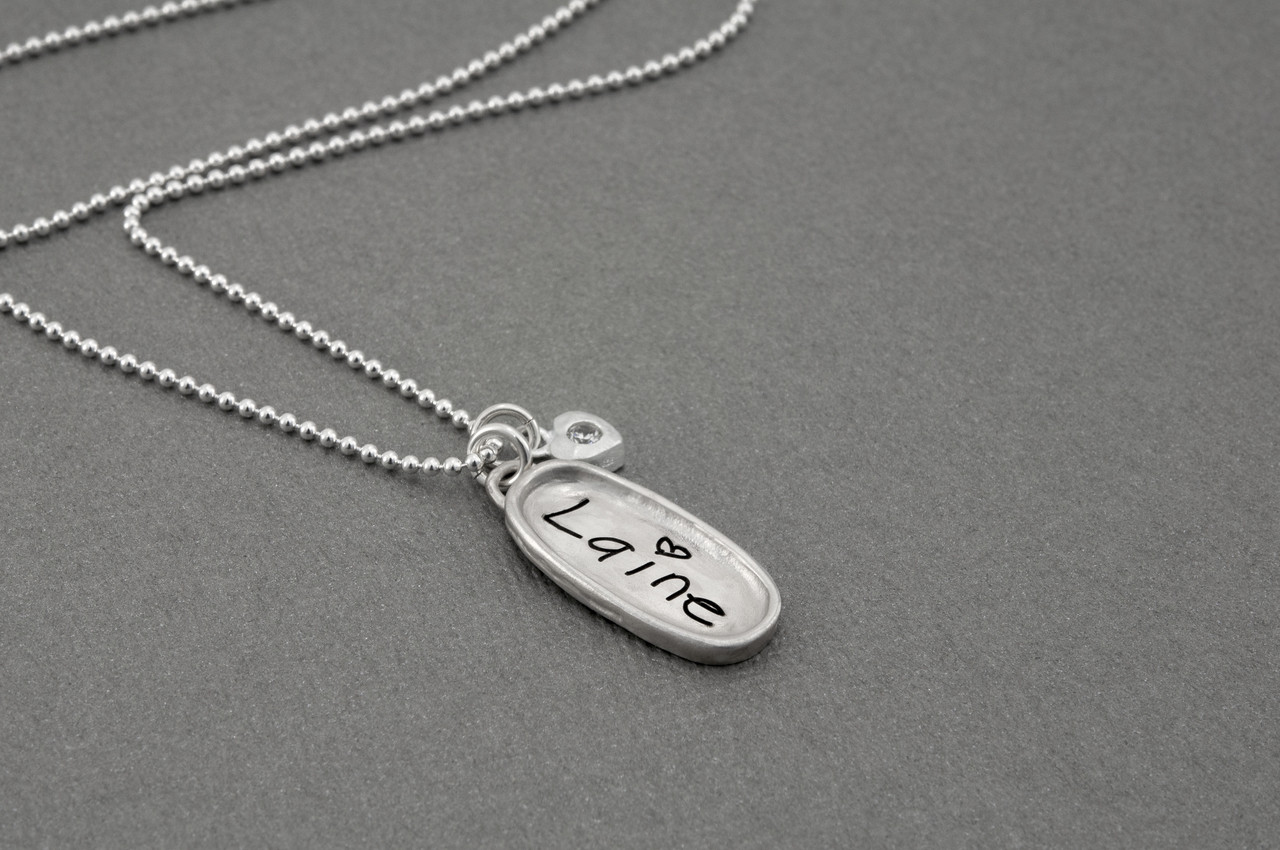 Child's handwritten name memorial necklace
