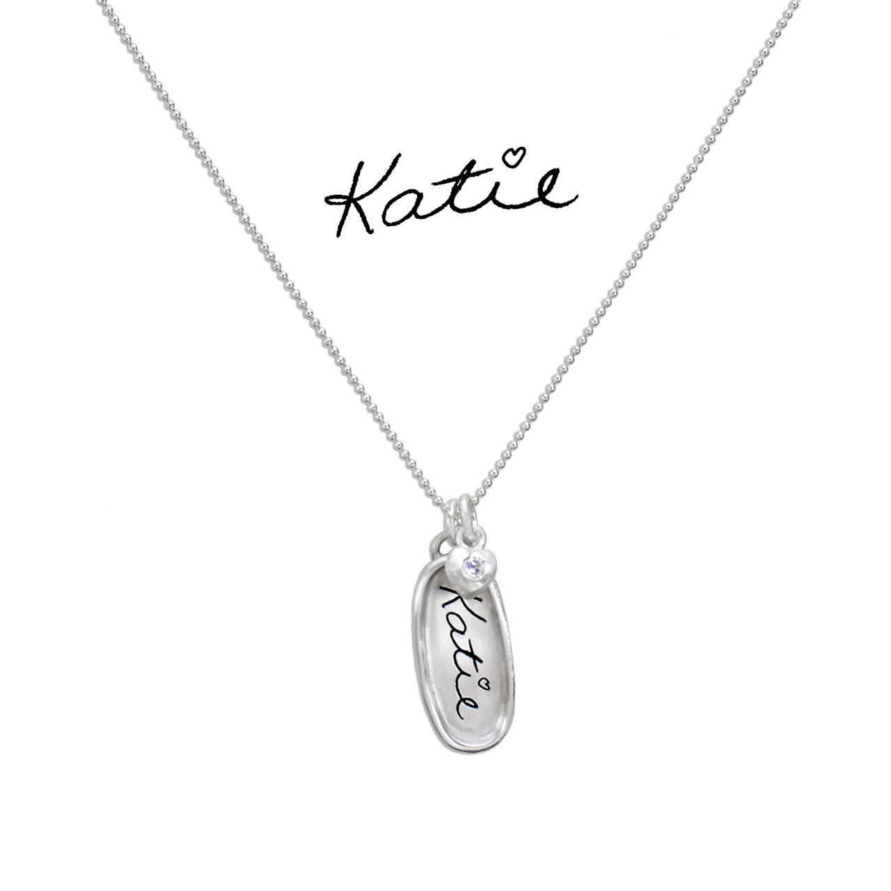 Handwritten name necklace, with silver oval charm, with the actual handwriting