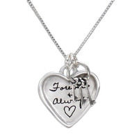 Large silver heart handwriting necklace with keys to your heart, shown close up on white