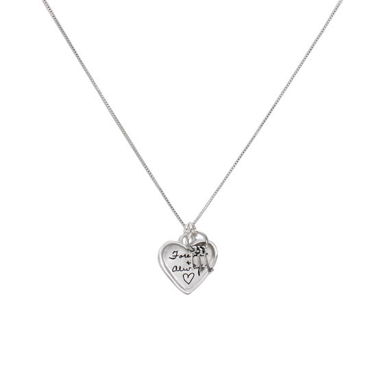 Large silver heart handwriting necklace with keys to your heart, shown on white