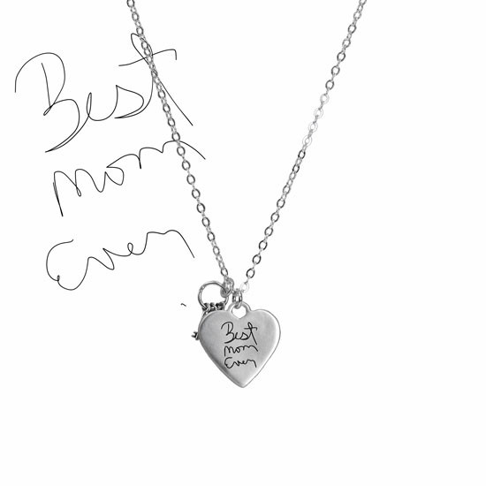 Large silver heart handwriting necklace with keys to your heart, with kid's original writing to mom, shown from the back