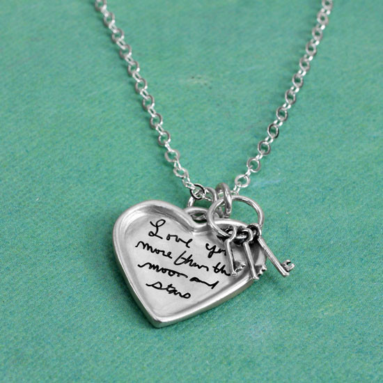 Mom's note on a large silver heart handwriting necklace with keys to your heart