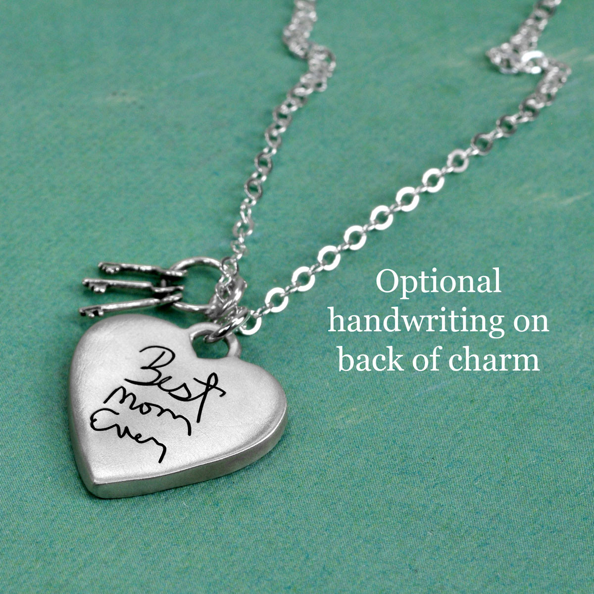 Back of charm on silver Large handwriting heart with keys necklace