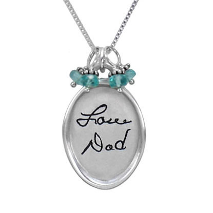 Silver Large oval handwritten note memorial necklace