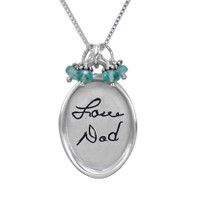 Large oval handwritten note memorial necklace