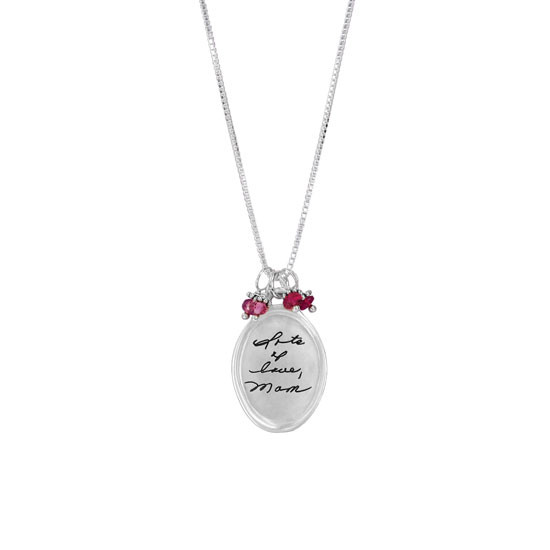 Silver Handwriting necklace with birthstones