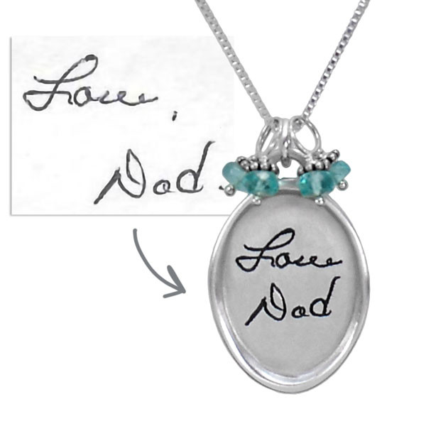 Silver Large oval handwritten note memorial necklace, with the original handwriting used to create the necklace