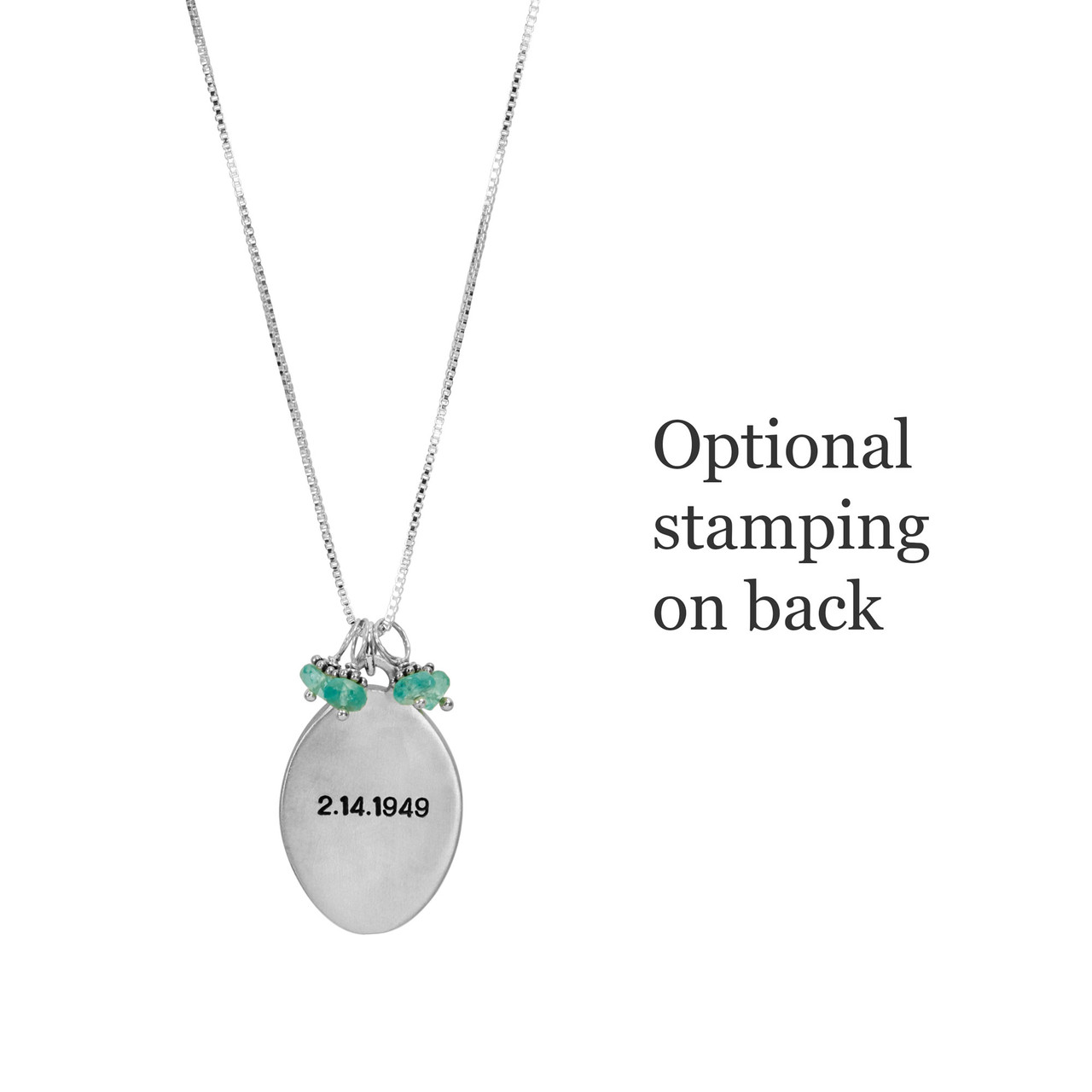 Optional message stamped on back of custom silver Raised edge handwriting oval necklace, personalized with loved one's writing