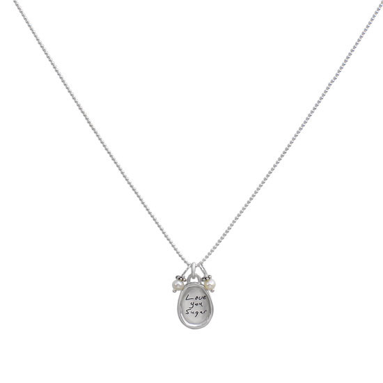 Small silver oval handwriting necklace