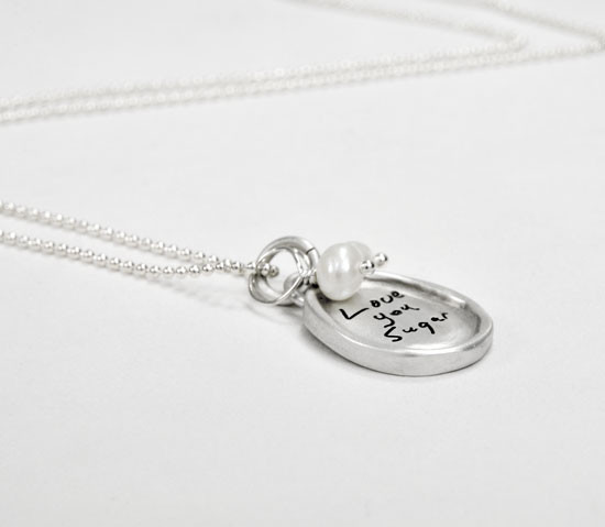 Small oval handwriting necklace