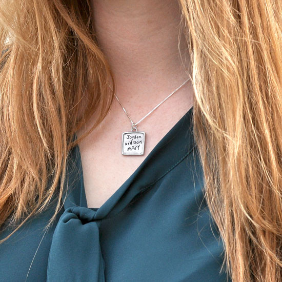 Necklace with actual handwriting