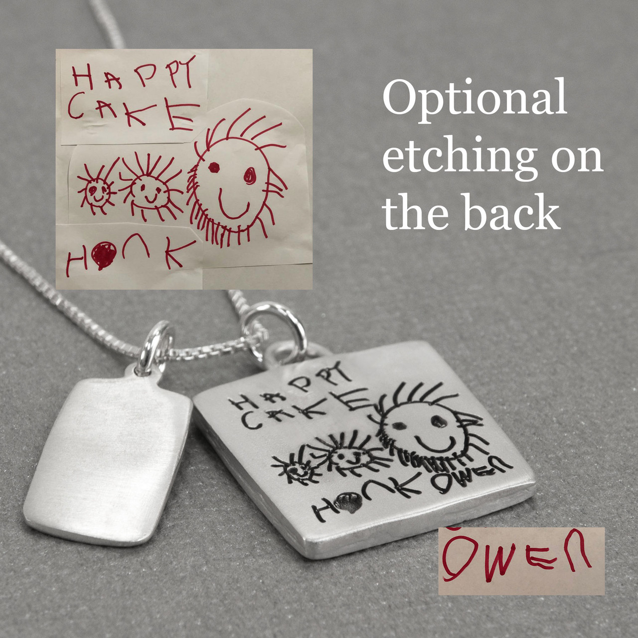 Back side of Silver Family Sculpted Raised Edge necklace with handwriting, shown from the side