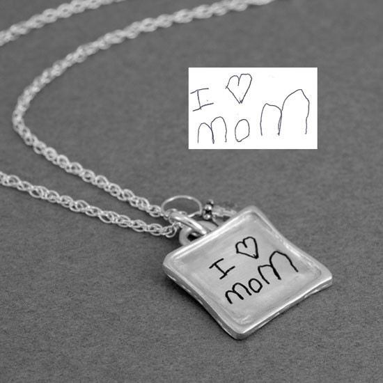 Silver Sculpted Raised Edge Small Square Handwriting Necklace, shown with original handwriting