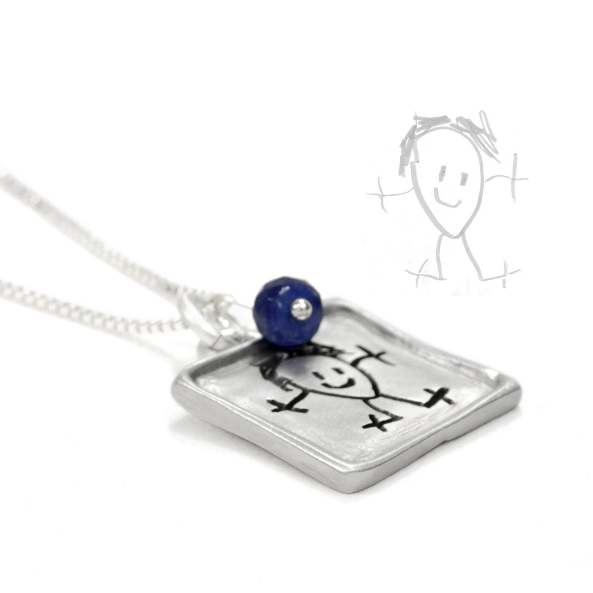 Raised edge fine silver handwriting square necklace, with child's drawing used to create it