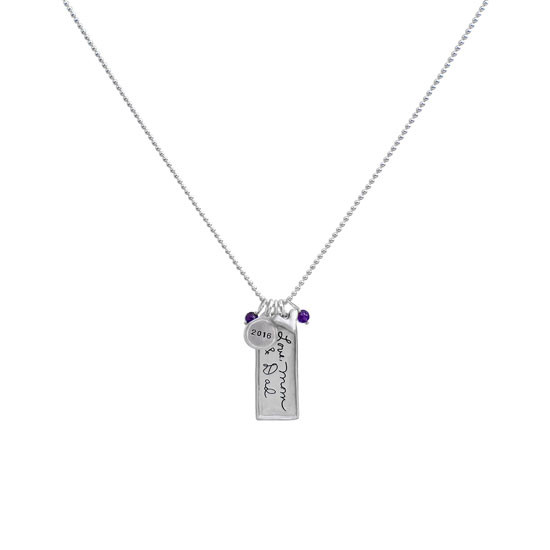 Silver rectangle family necklace with handwritten message