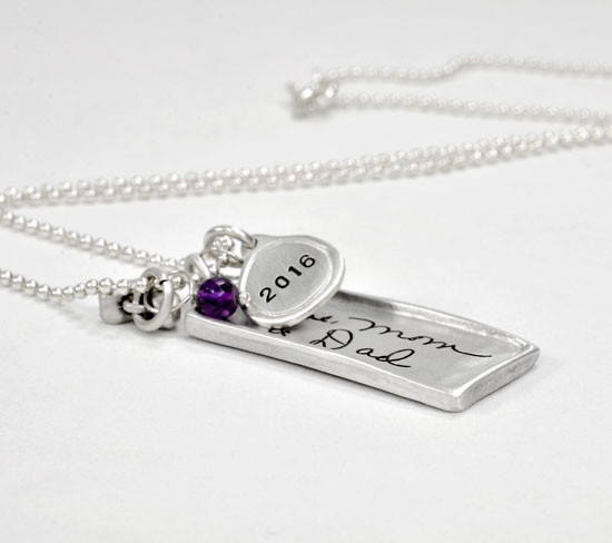 Raised edge handwriting rectangle family necklace