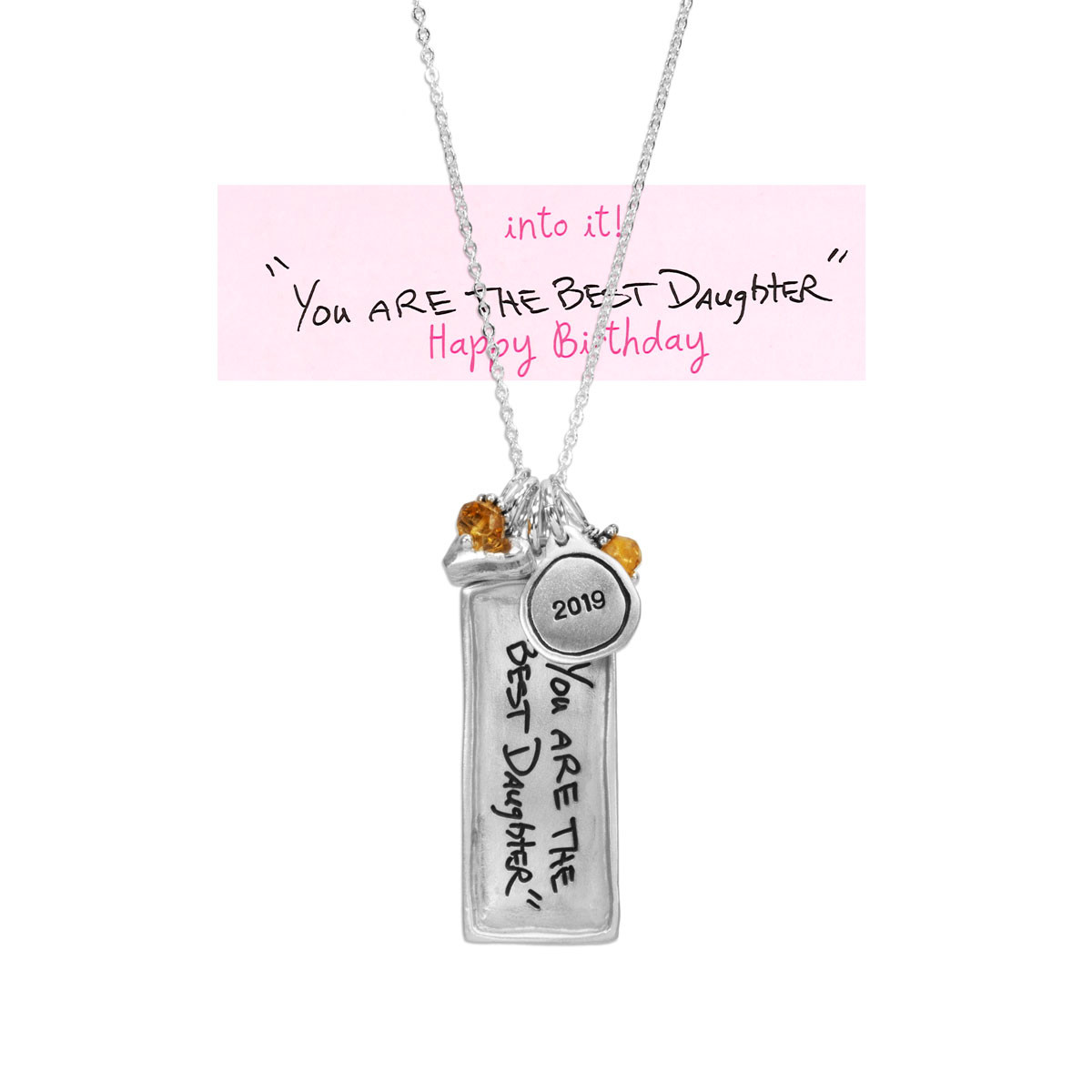 Rectangle family necklace in silver with handwriting, shown with original handwriting used to create it