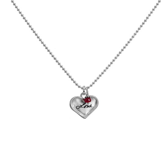 Sterling silver small heart for custom handwriting on necklace with birthstone, shown on white