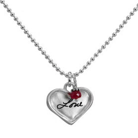 Sterling silver small heart for custom handwriting on necklace with birthstone, shown close up on white