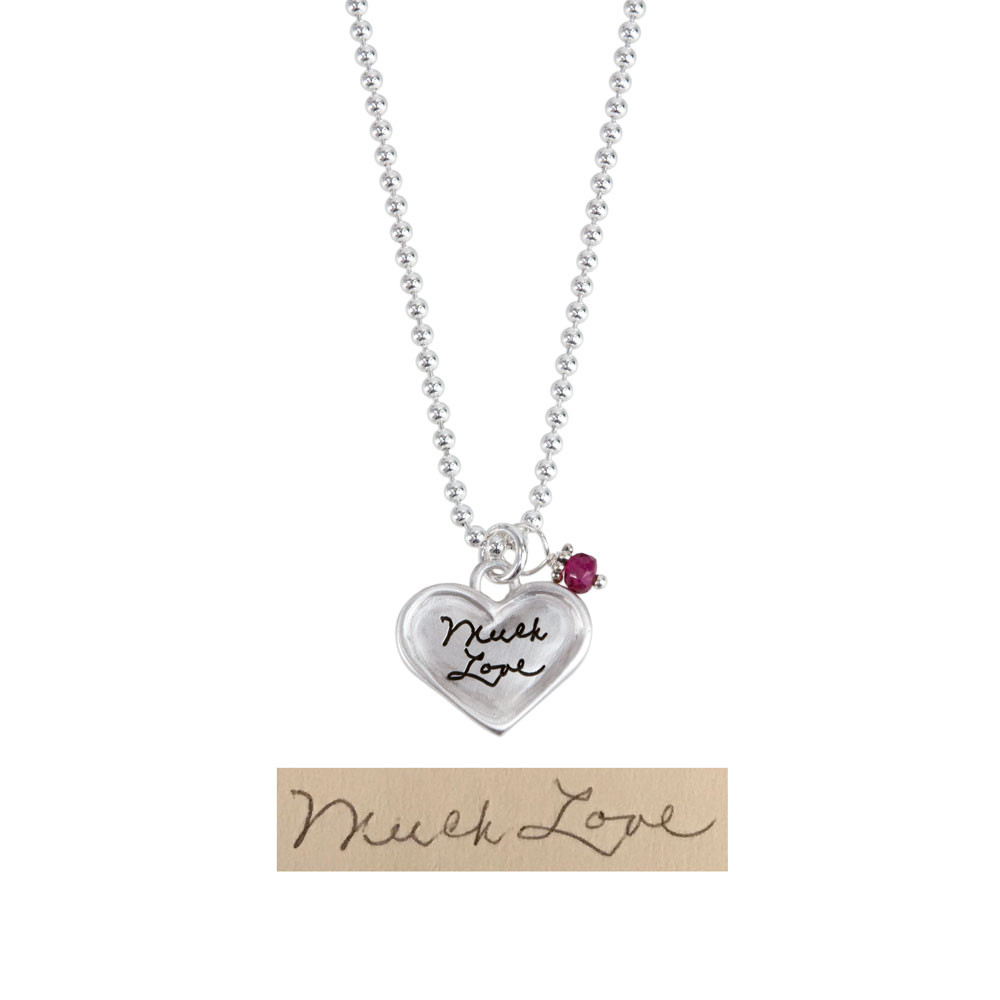 Sterling silver small heart for custom handwriting on necklace with birthstone, shown with original handwriting used to create it