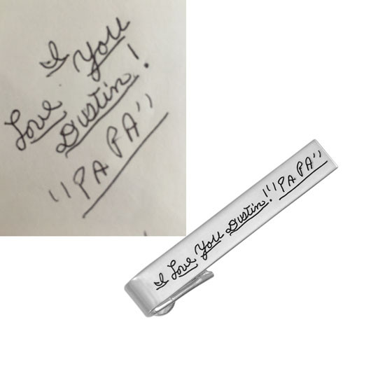 Personalized silver tie clip with handwriting. shown with original handwriting