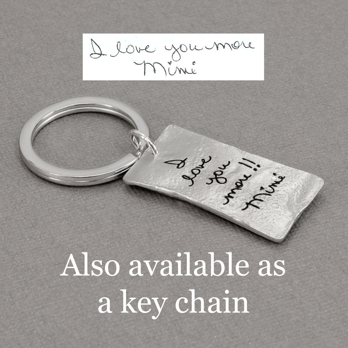 Your handwriting on a fine pewter pocket charm with a raised heart, shown as a key chain