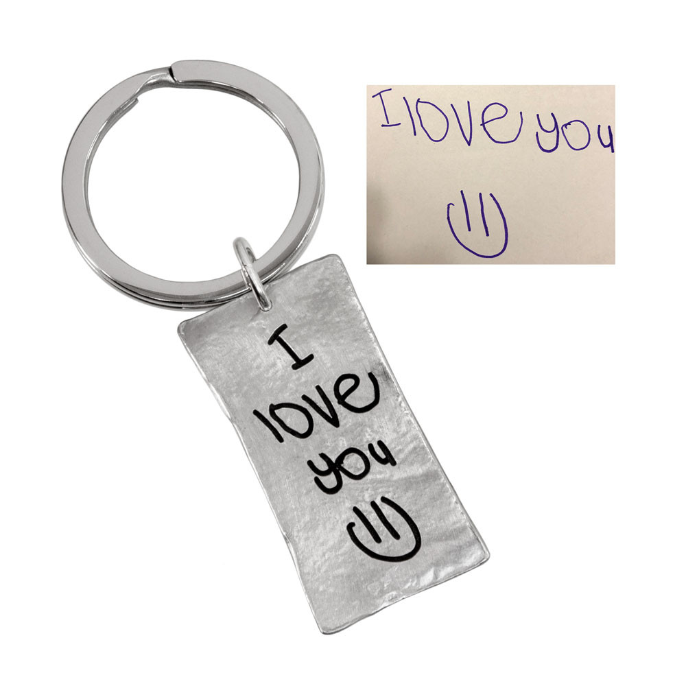 Rectangle Fine Pewter Handwriting Key Ring, showing the handwritten note used to create it