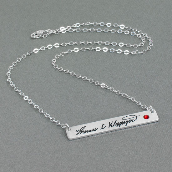 Silver Handwriting bar memorial necklace with actual handwriting, hung with birthstone