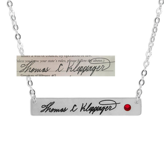 Silver Handwriting bar memorial necklace shown with actual handwriting, hung with birthstone