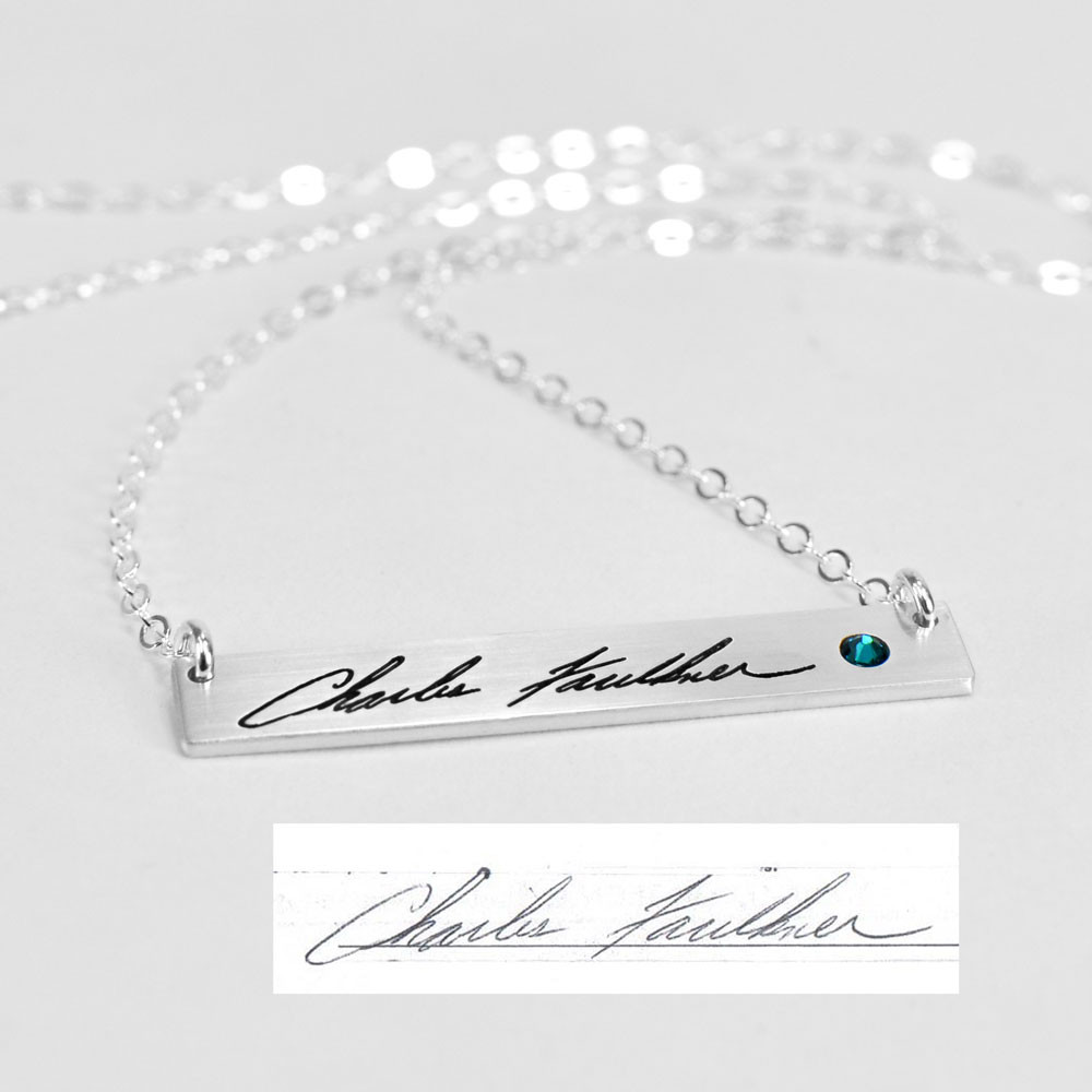 Custom silver Handwriting bar memorial necklace shown with actual handwritten signature, with embedded birthstone