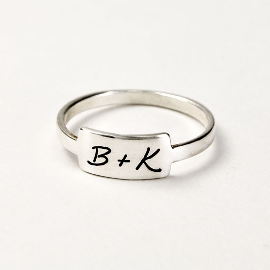 Silver handwriting ring with your handwritten note on white background