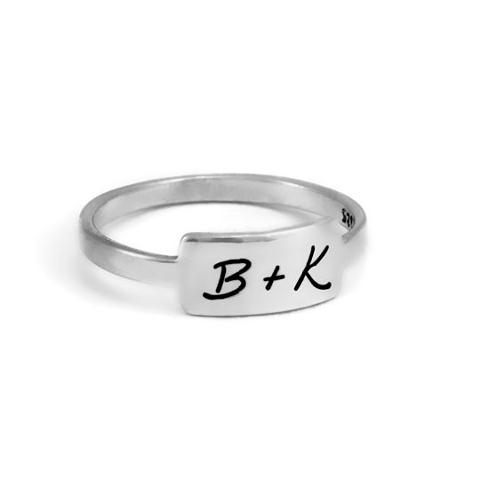Silver handwriting ring with your handwritten note on pure white background with B+K on it