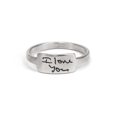 Silver handwriting ring with your handwritten note on pure white background with I Love You handwriting